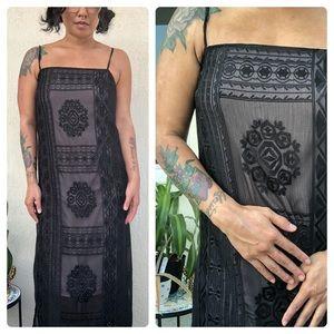 ANTHRO🤤💕 Black Embroidered Slip Dress!